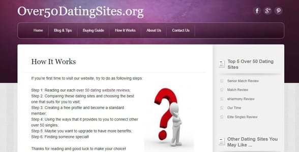 Screenshot of Over50DatingSites.org