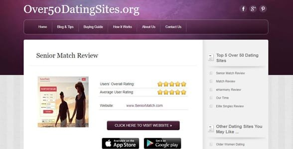 Screenshot of an Over50DatingSites.org review
