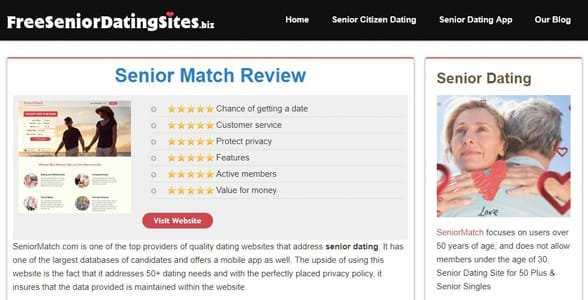 Screenshot of a FreeSeniorDatingSites.biz review