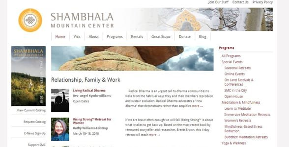 Screenshot of the Shambhala Mountain Center's programs page