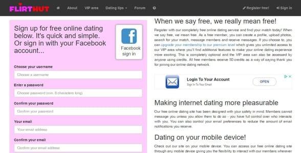 Screenshot of Flirthut's signup page