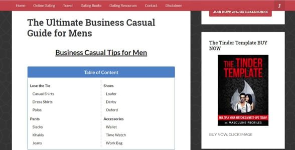 Screenshot of a Masculine Profiles article