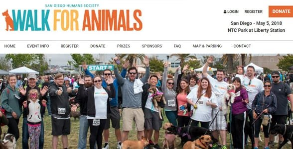 Screenshot from the Walk for Animals website