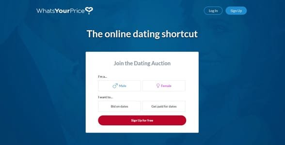 Screenshot of the What's Your Price sign-up page