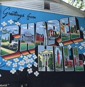 Photo of a Chapel Hill postcard mural