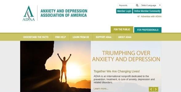 Screenshot of ADAA's homepage