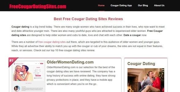 Screenshot of FreeCougarDatingSites.com