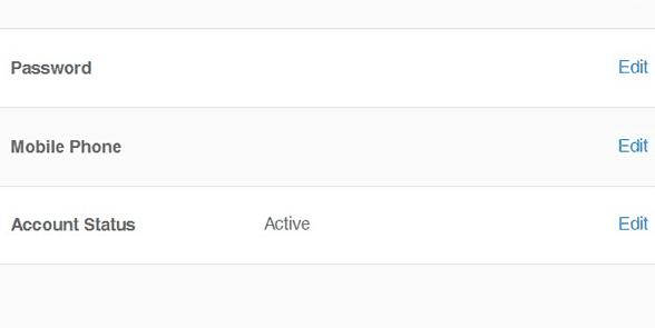 Screenshot of Zoosk account settings