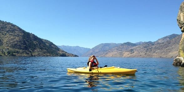 Photo of someone kayaking on Lake Chelan