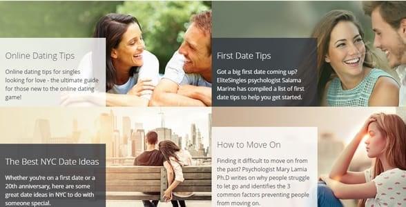 Screenshot of the dating blog on EliteSingles.com
