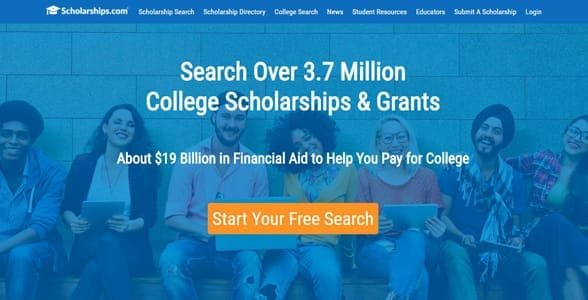 Screenshot of Scholarships.com