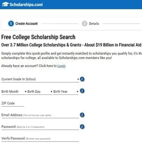 Screenshot of Scholarships.com's profile creation page