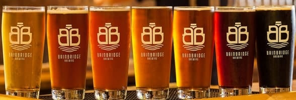 Photo of the beers at Bainbridge Brewing