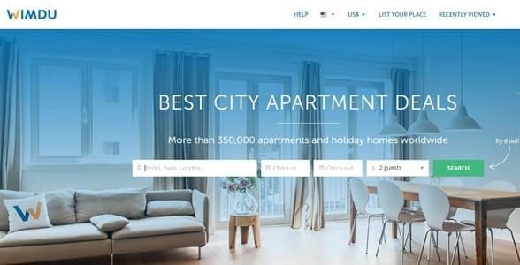 Screenshot of Wimdu's homepage