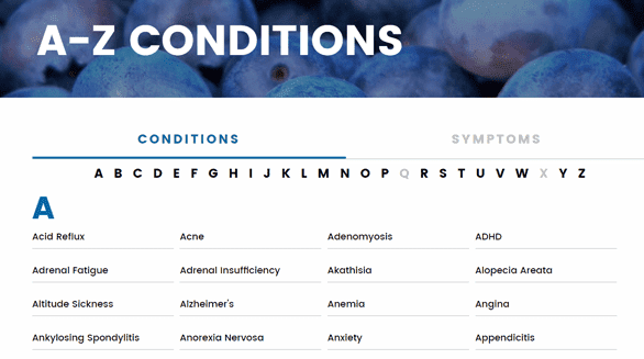 Screenshot of A-Z Conditions on DrAxe.com