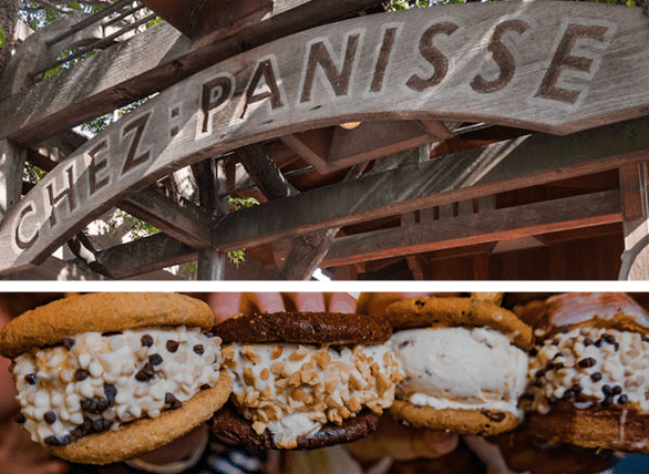 Collage of Chez Panisse sign and CREAM sandwiches