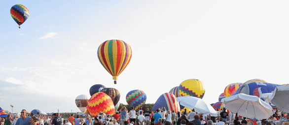 Photo of balloons ascending at the New Jersey Festival of Ballooning