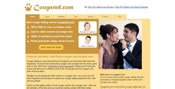 Screenshot of Cougared.com's homepage