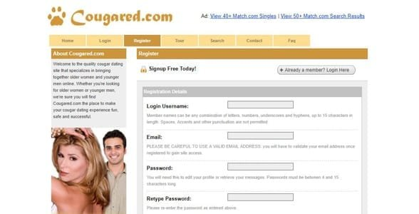 Screenshot of Cougared.com's sign-up page