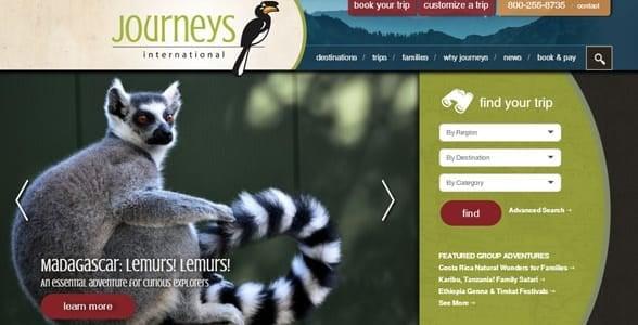 Screenshot of Journeys International's website