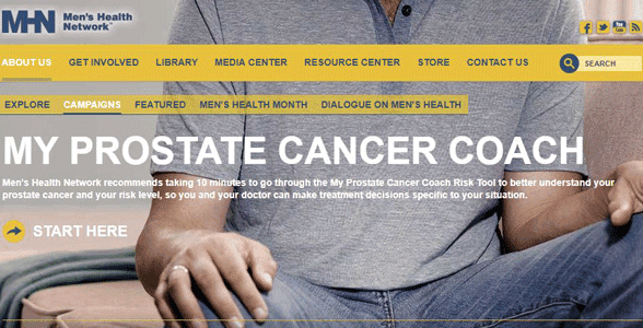 Screenshot of the Men's Health Network website