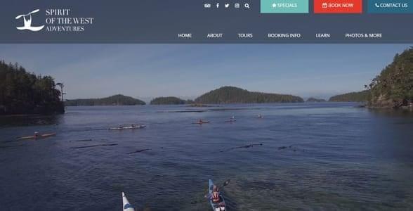 Screenshot of the Spirit of the West Adventures website