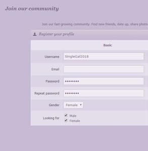 Screenshot of SeekingSugarMummy's sign-up page