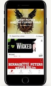Screenshot of TodayTix's app