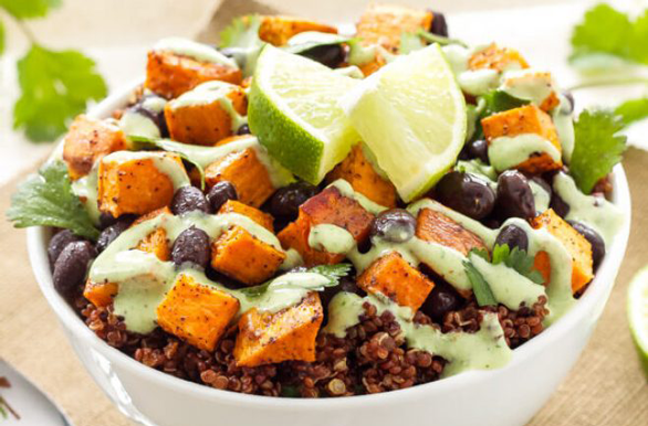 Photo of Spoonful of Flavor's sweet potato and black bean quinoa bowl