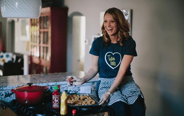 Photo of Lauren Grier cooking tater tots