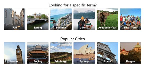 Screenshot of Go Overseas' search options