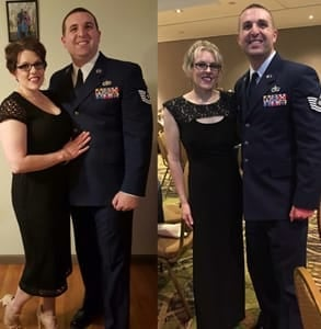 Side-by-side photos of Kara and Matthew in 2016