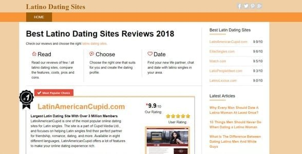 Screenshot of LatinoDatingSites.org