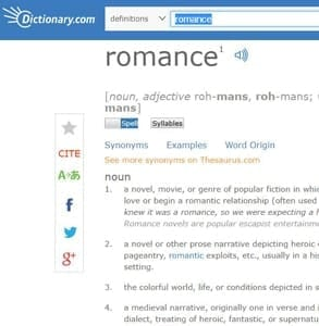 Screenshot of Dictionary.com's definition of romance
