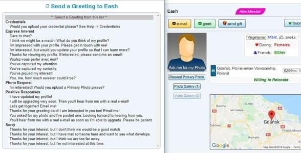 Screenshot of VeggieConnection's pre-written messages