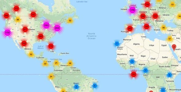 Photo of a map of VeggieConnect.com's members