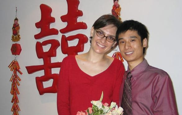 Photo of Jocelyn and John after getting married in 2004