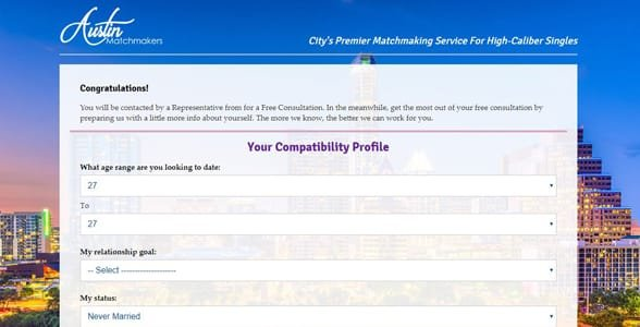 Screenshot of the Compatibility Profile at Austin Matchmakers