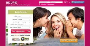 Screenshot of BiCupid.com's homepage