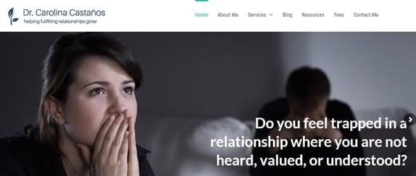 Screenshot of Dr. Carolina's website