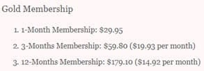 Screenshot of CasualDateSites.com's membership cost breakdown