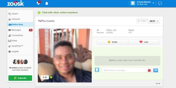 Screenshot of a Zoosk profile