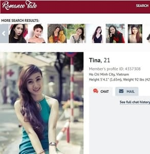 Screenshot of a profile on RomanceTale