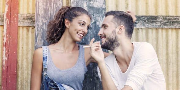Photo of a couple flirting