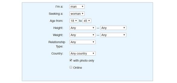 Screenshot of EraDating.com search screen