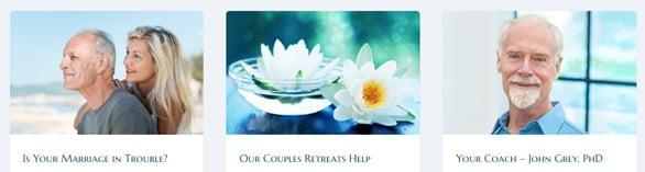 Screenshot of Healing Couples Retreats categories