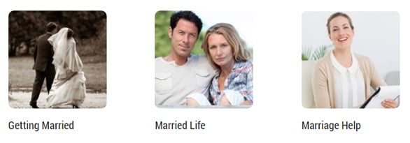 Screenshot of the Marriage.com advice section