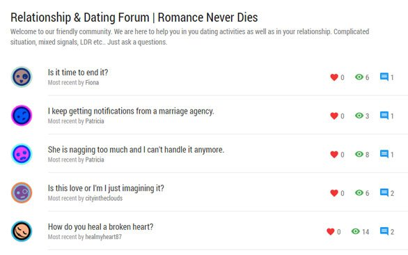 Screenshot of the LoveDignity.com forum section