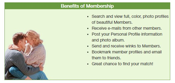 Screenshot of EraDating.com membership benefits