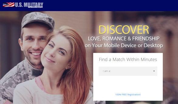Screenshot of USMilitarySingles.com